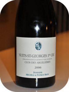 2006 Domaine Michele & Patrice Rion, Nuits-St-Georges 1er Cru Clos des Argilléres, Bourgogne, Frankrig