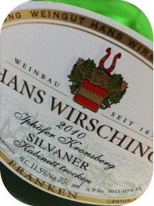 2010 Weingut Hans Wirsching, Silvaner Kabinett Trocken Iphöfer Kronsberg, Franken, Tyskland