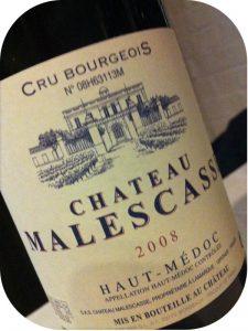 2008 Château Malescasse, Haut-Médoc Cru Bourgeois, Bordeaux, Frankrig