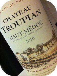 2010 Château Troupian, Haut-Médoc, Bordeaux, Frankrig