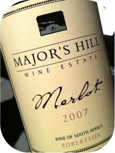 2007 Major's Hill Wine Estate, Merlot Estate Wine, Western Cape, Sydafrika