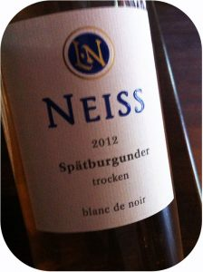 2012 Weingut Neiss, Spätburgunder Blanc de Noir, Pfalz, Tyskland