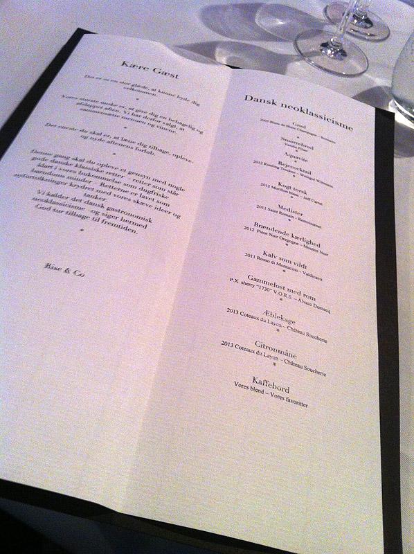 Aftenens menu