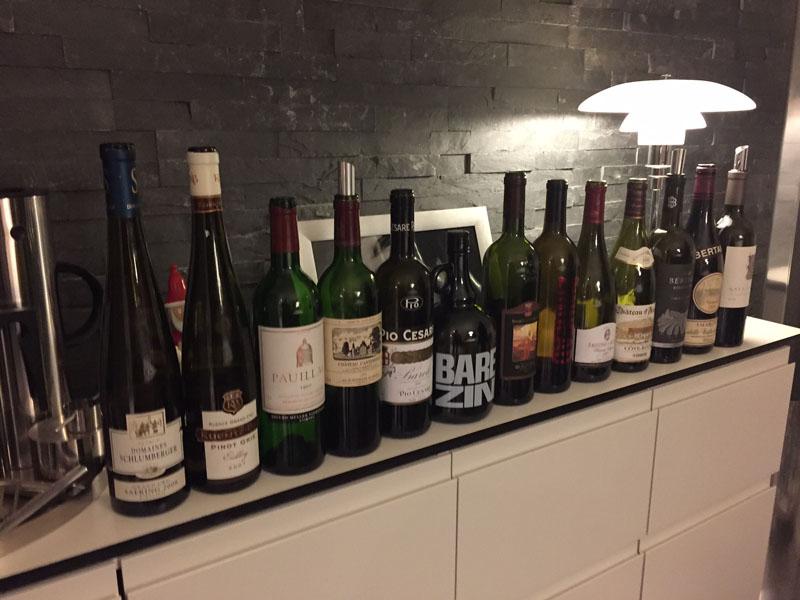 Line-up af aftenens vine
