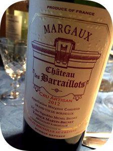 2012 Chateau Les Barraillots, Margaux Cru Artisan, Bordeaux, Frankrig