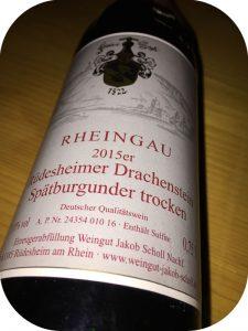 2015 Weingut Jakob Scholl Nachf, Rüdesheimer Drachenstein Spätburgunder Trocken, Rheingau, Tyskland