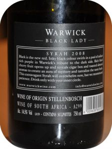 2008 Warwick Estate, Black Lady Syrah, Stellenbosch, Sydafrika