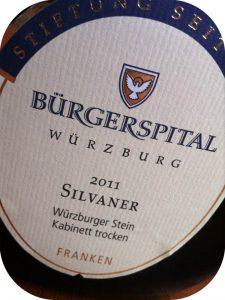 2011 Weingut Bürgerspital, Silvaner Würzburger Stein Kabinett Trocken, Franken, Tyskland