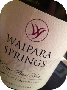 2009 Waipara Springs Winery, Premo Pinot Noir, Waipara, New Zealand