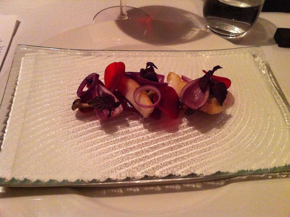 Slethvar og rødbede, bøgehatte, Lard de Alsace og rødvinsfumé