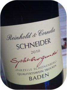 2010 Weingut Schneider, Spätburgunder Parzelle Schönenberg, Baden, Tyskland