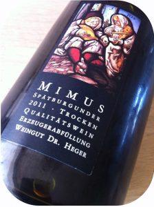 2011 Weingut Dr. Heger, Mimus Spätburgunder, Baden, Tyskland