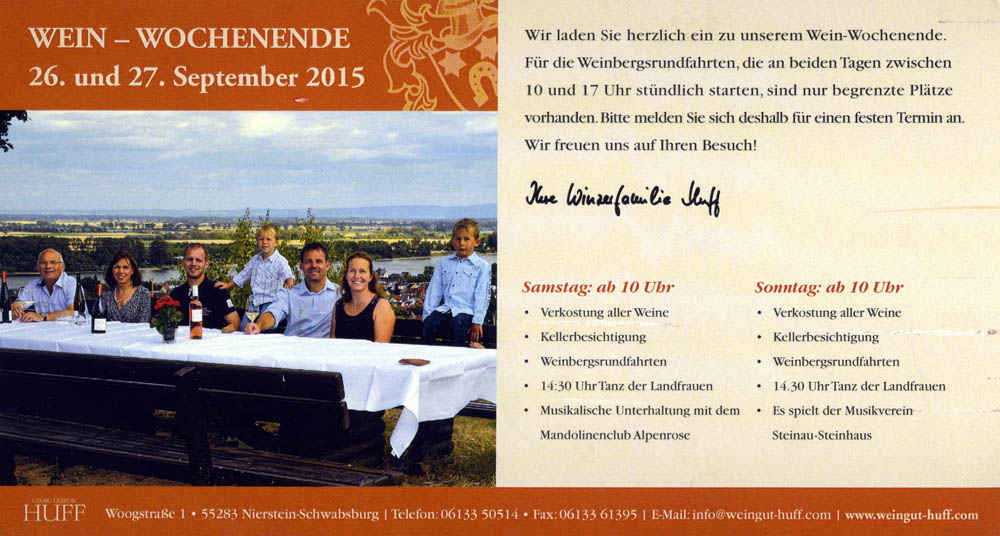 Huff - invitation til vin weekend