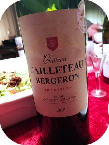 2015 Château Cailleteau Bergeron, Blaye Côtes de Bordeaux, Bordeaux, Frankrig