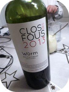 2013 Clos des Fous, Würm Cabernet Sauvignon, Cachapoal, Chile